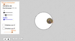 Abrollende Münze auf-in Kreis
