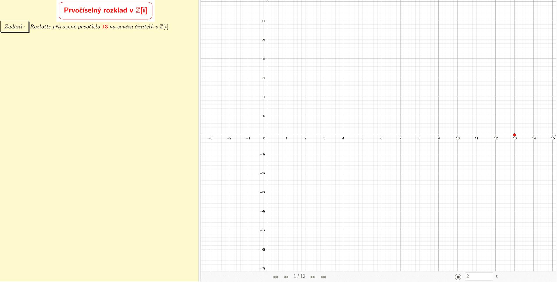 Prvočíselný rozklad přirozeného prvočísla 13 v Z[i]