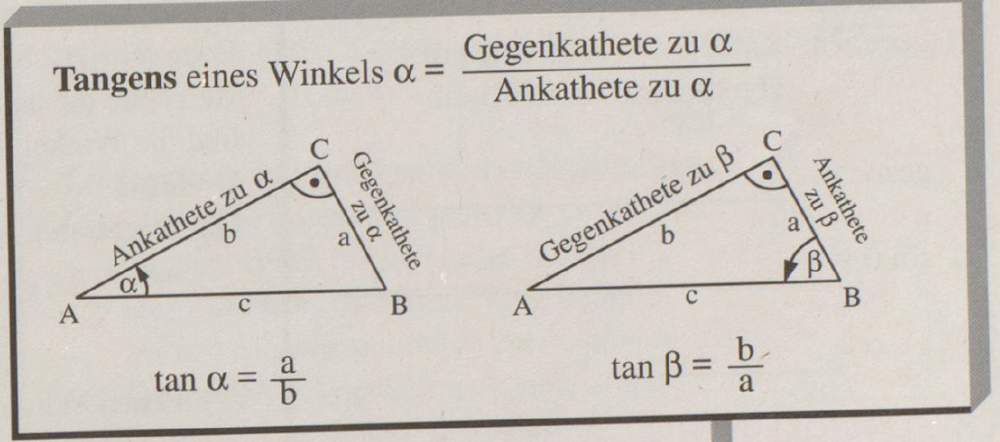[u][color=#980000][size=200]M[/size][/color][/u][size=200][u][color=#980000]ERKE:[/color][/u] [size=150]sin([math]\alpha[/math]) = Gegenkathete/ Hypotenuse cos([math]\alpha[/math]) = Ankathete / Hypotenuse tan([math]\alpha[/math]) = Gegenkathete / Ankathete[/size][/size]