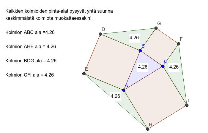 Kolmioiden yhtäsuuret pinta-alat