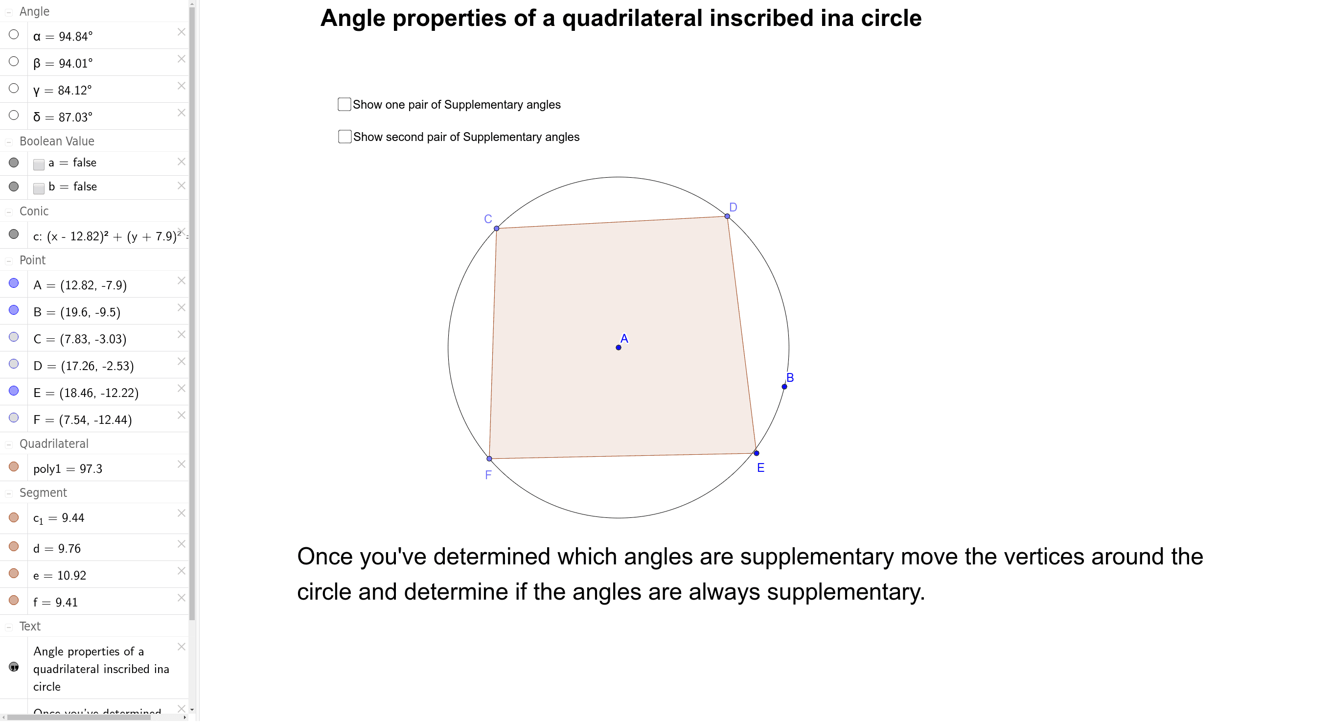 Angle properties of a quadrilateral inscribed in a circle