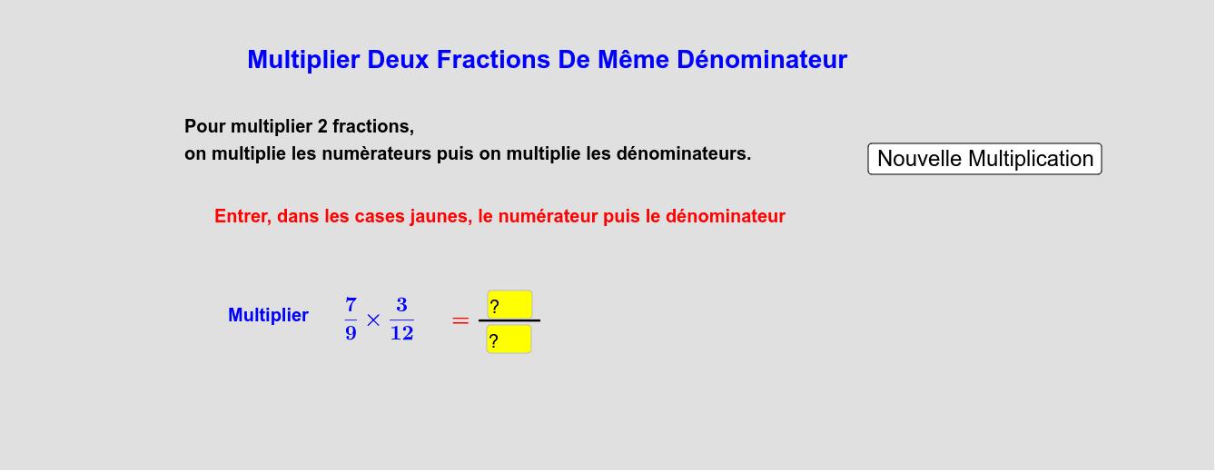 Multiplier Deux Fractions