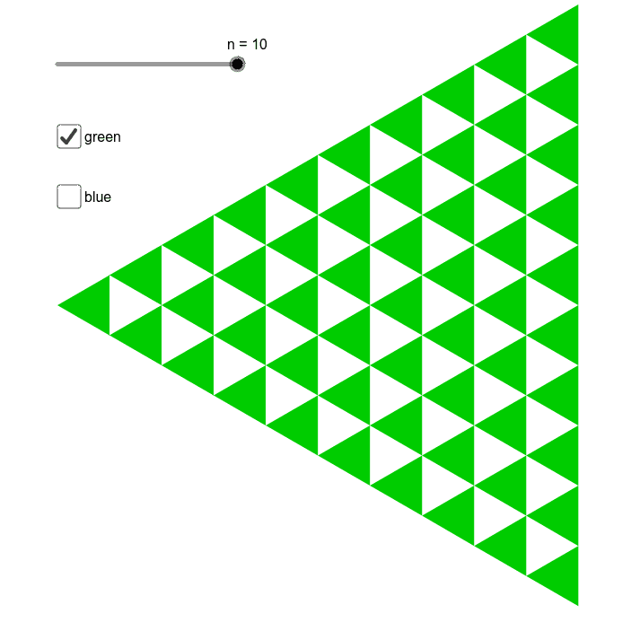 How many green triangles are there? How many blue triangles are there? Press Enter to start activity