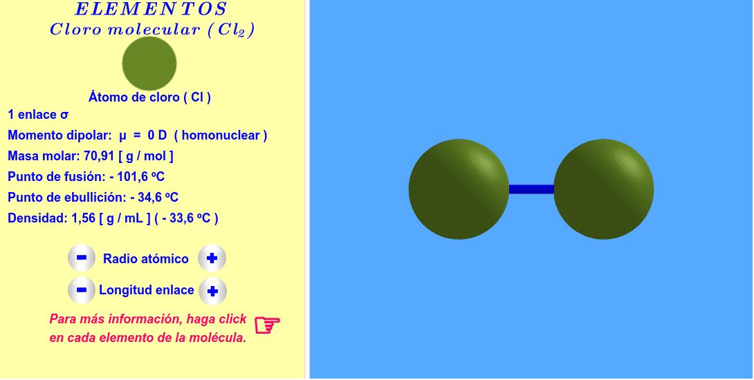 Molécula interactiva de cloro molecular. Los radios atómicos y la longitud del enlace se pueden variar. Para más informaciones, haga click en cada átomo y enlace de la molécula. Presiona Intro para comenzar la actividad