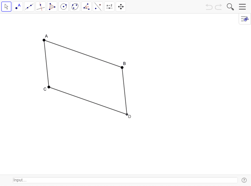 Draw the diagonals of parallelogram ABCD.  Mark the intersection point and label it E.  Find the length of the segments of each diagonal.   Press Enter to start activity