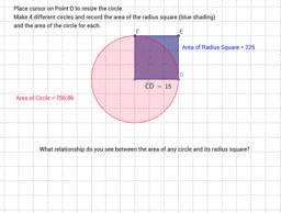 Circle and radius square areas.