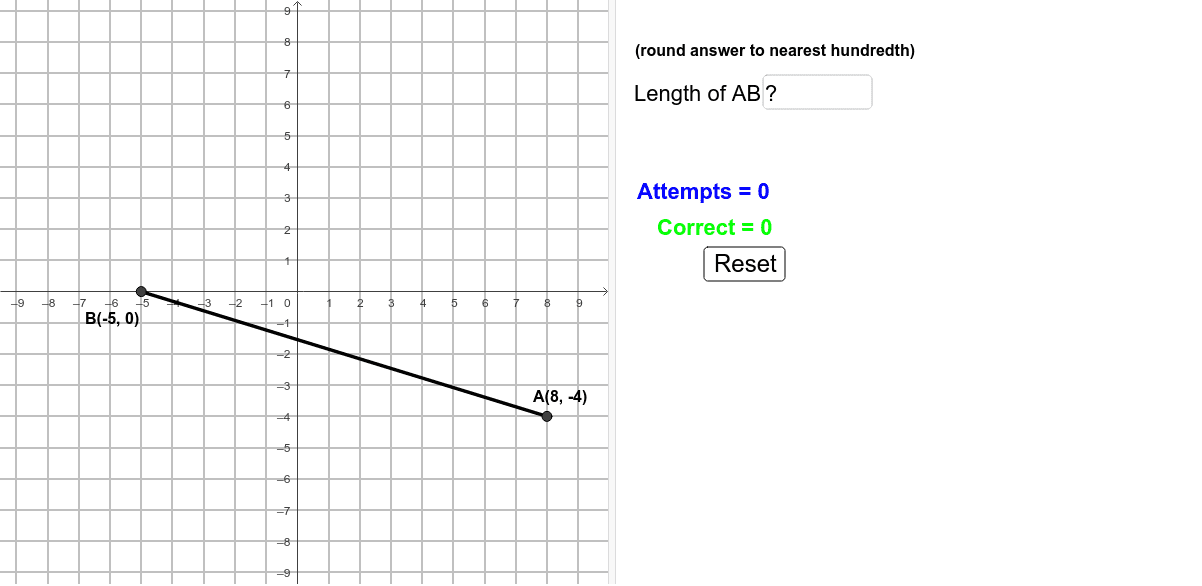 Find the length of segment AB and check your answer.  Try to get five or more correct!