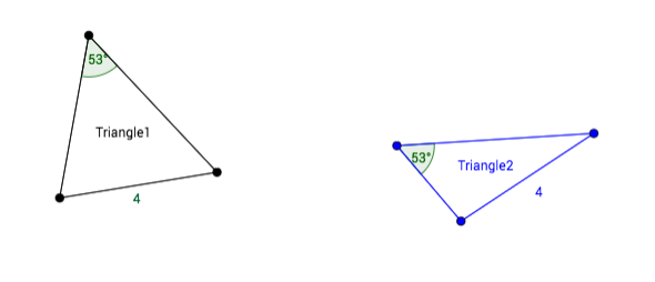 [b]SA opposite is not enough![/b]  When the congruent pair of angles is across from the congruent pair of sides, again, there can be non-congruent triangles.
