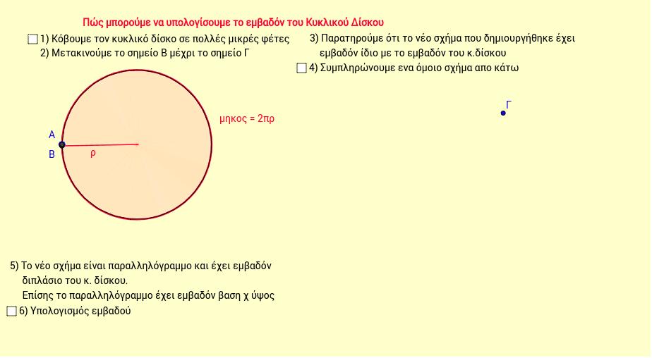 Υπολογισμός εμβαδού κυκλικού δίσκου