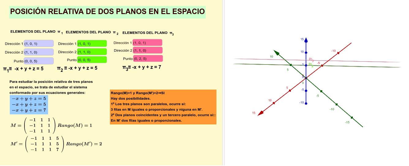 Por último la posición relativa de 3 planos. Presiona Intro para comenzar la actividad