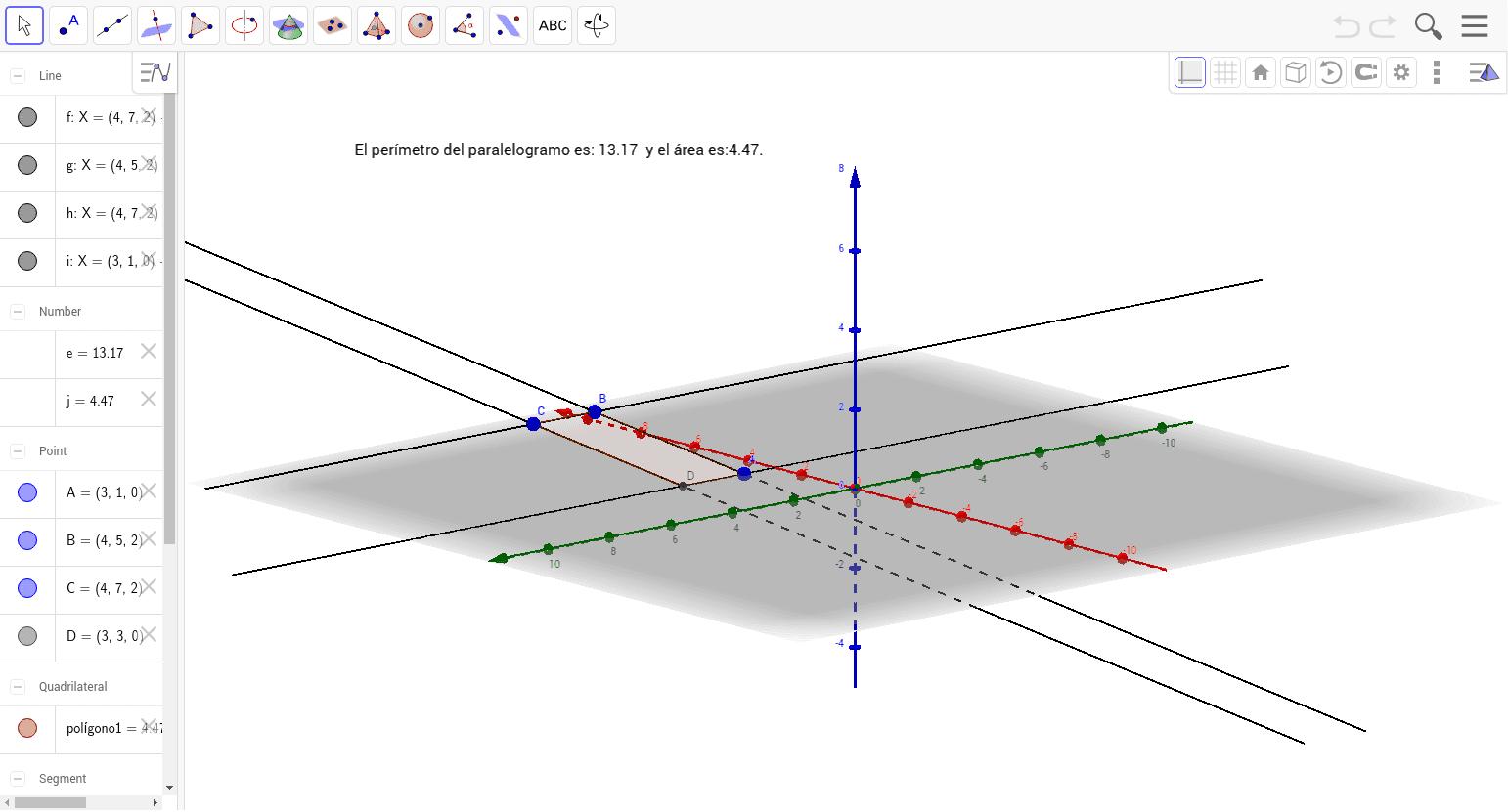 Los puntos A=(3,1,0), B=(4,5,2) y C=(4,7,2) son tres vértices consecutivos de un paralelogramo. Encuentra el cuarto vértice y calcula su perímetro y área .