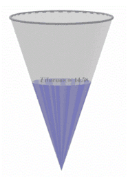 Ympyräpohjaisen kartion tilavuus (Volume of a cone)