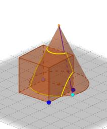 Intersecció d'un con i un cub