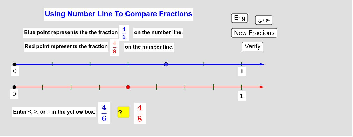 Comparing Fractions Using Number Line   مُقارنة الكسور باستخدام خط الأعداد