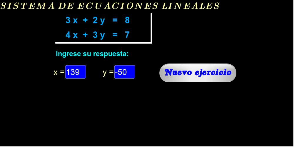 """Ingrese en las casillas azules los valores y si su respuesta es correcta aparecerá: """"Muy bien""""."""