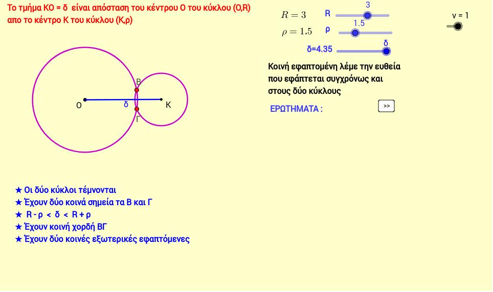 Κοινές εφαπτόμενες δύο τεμνόμενων κύκλων