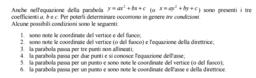 Condizioni che determinano l'equazione della parabola