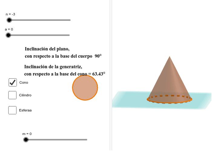 """Puedes deslizar """"n"""" para trasladar el plano y crear un corte plano en el cuerpo geométrico elegido. Puedes deslizar """"a"""" para inclinar el plano que corta al cuerpo geométrico. Puedes elegir el tipo de cuerpo geométrico al que deseas realizar el corte.  Presiona Intro para comenzar la actividad"""