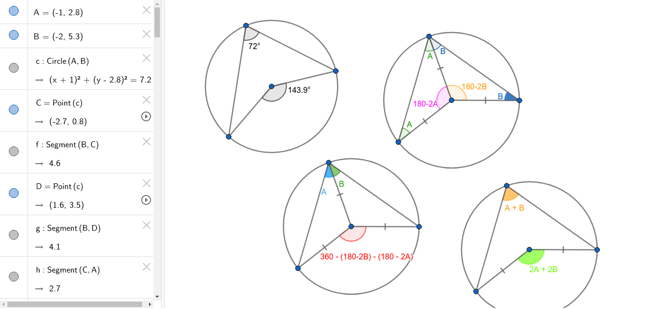 You can prove that the angle at the centre of a circle is half the angle at the circumference. Press Enter to start activity