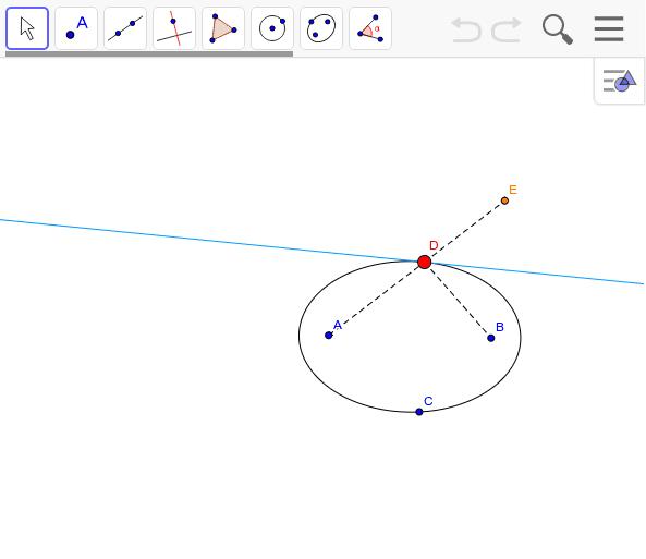 接線に対する楕円の鏡映を作図してみよう。 ワークシートを始めるにはEnter キーを押してください。