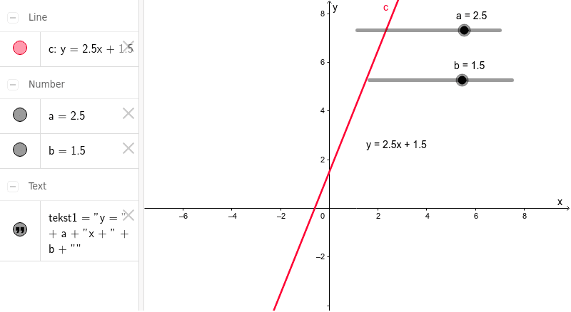 Het bepalen van a en b in y = ax + b  Klik op Enter om de activiteit te starten