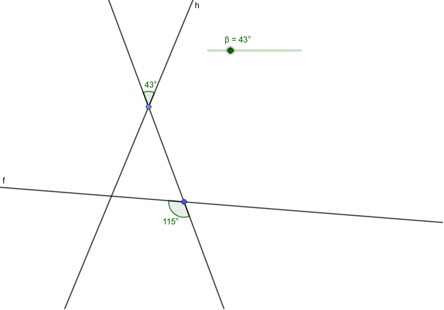 Move the slider so that lines f and h become parallel.