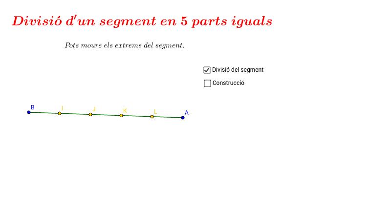 Divisió segment en 5 parts iguals