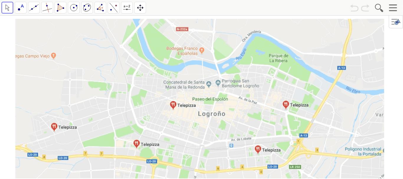 Divide el plano de Logroño en 5 zonas dependiendo qué Telepizza esté más cercana. Presiona Intro para comenzar la actividad