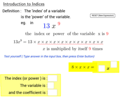 Introduction to Indices (Positive Integer Index)