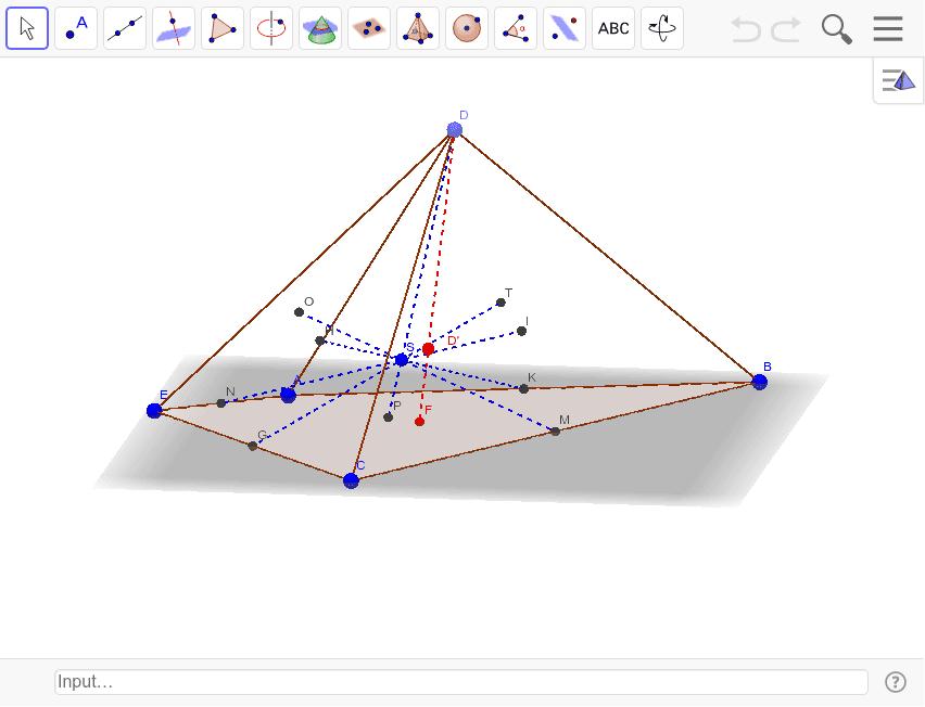赤が錐の重心で青が頂点の平均重心。四面体の時は同じだったが、底面が四角形なので多角形の重心が違い、四角錐の重心も異なる。 ワークシートを始めるにはEnter キーを押してください。