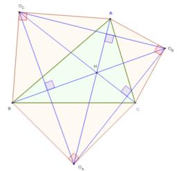 Trois triangles rectangles isocèles autour d'un triangle