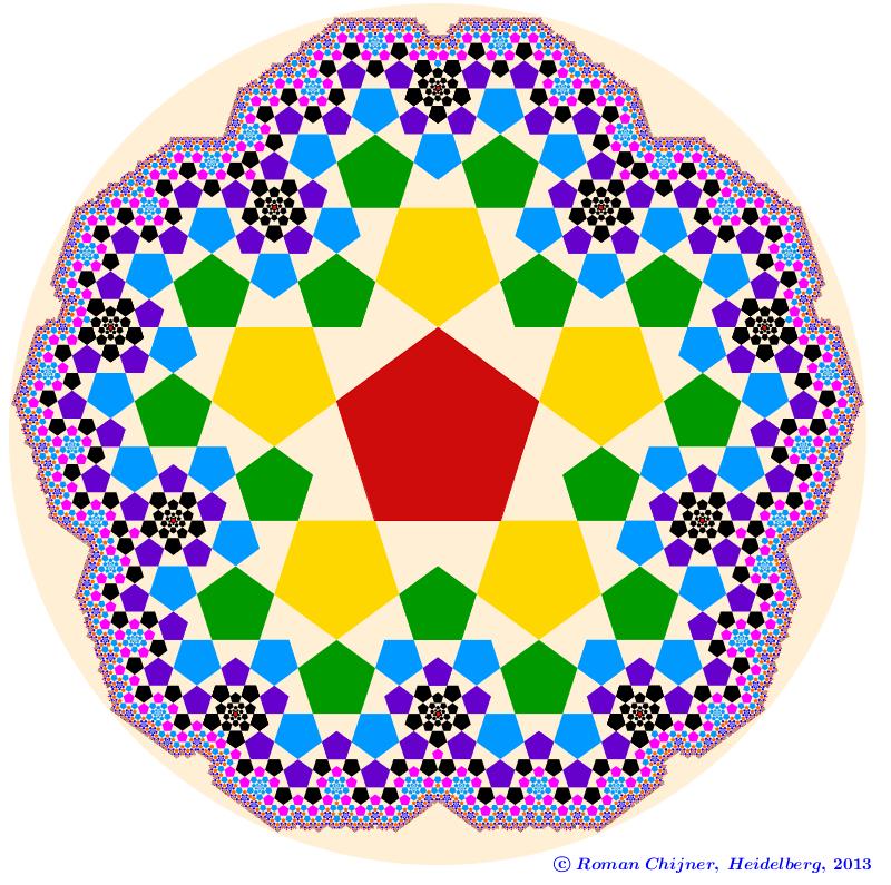 Golden section in pentagonal fractal, 12 steps / Goldenes Fünfecksfraktal  in 12 Schritten