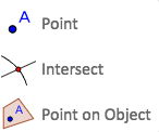 This will create a point, create points only on the intersection of two objects or a point only on an object