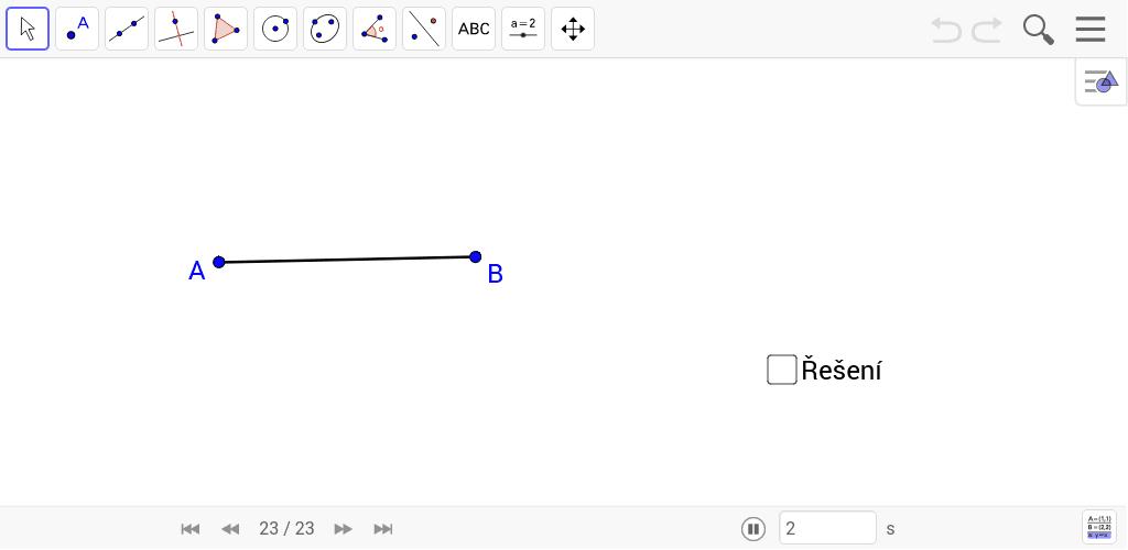 Narýsuj úhel 75° bez použití úhloměru. Zaškrtnutím checkboxu zobrazíte řešení. Tlačítky << a >> se pohybujete postupem.