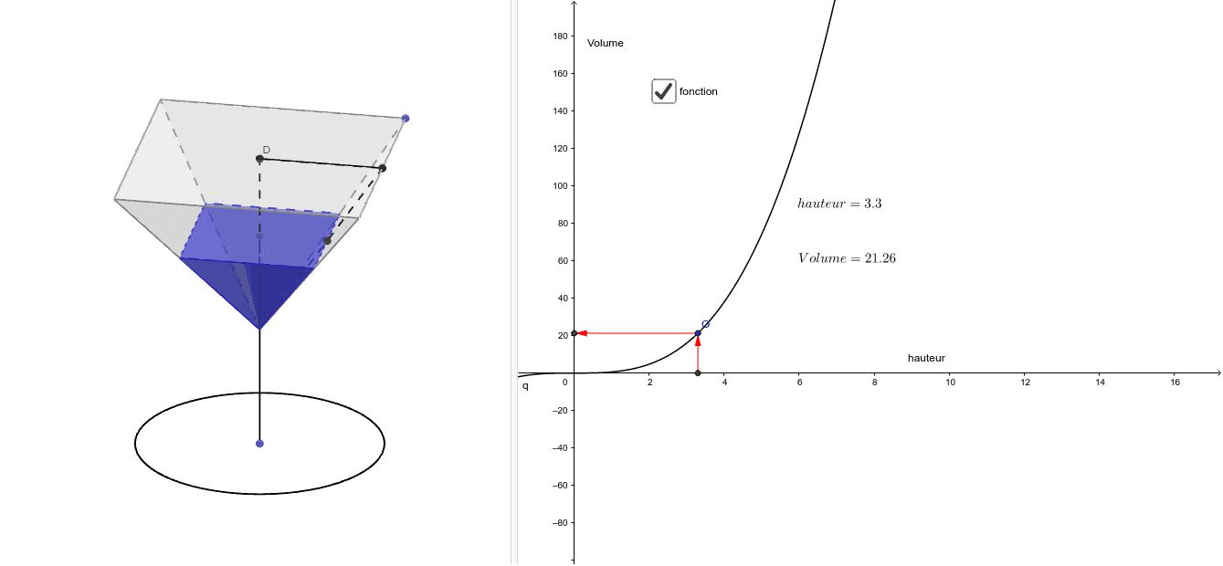"""Etude du volume d'une pyramide en fonction de la hauteur. Tapez """"Entrée"""" pour démarrer l'activité"""