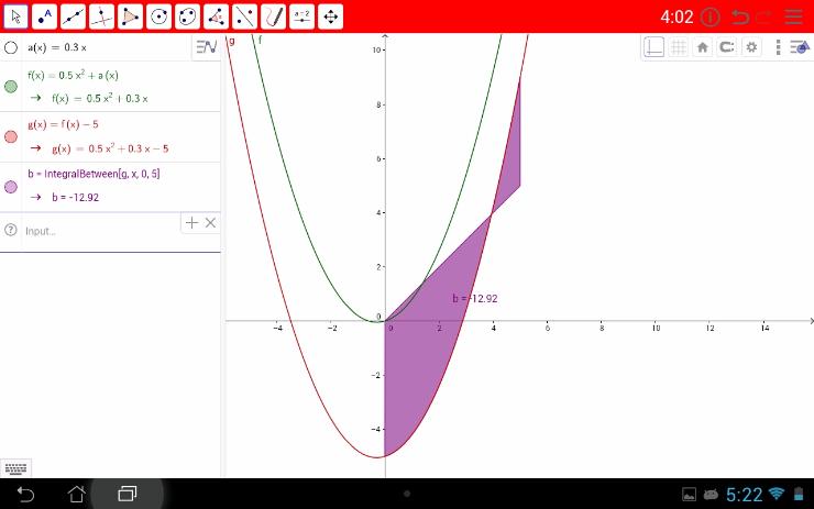 De rode hoofdbalk illustreert dat de leerling tijdens het examen de schermvullende weergave van GeoGebra Exam verliet.