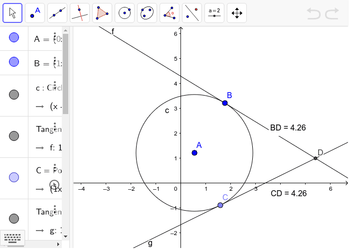 Lines f and g are tangents to circle A. They intersect at point D.