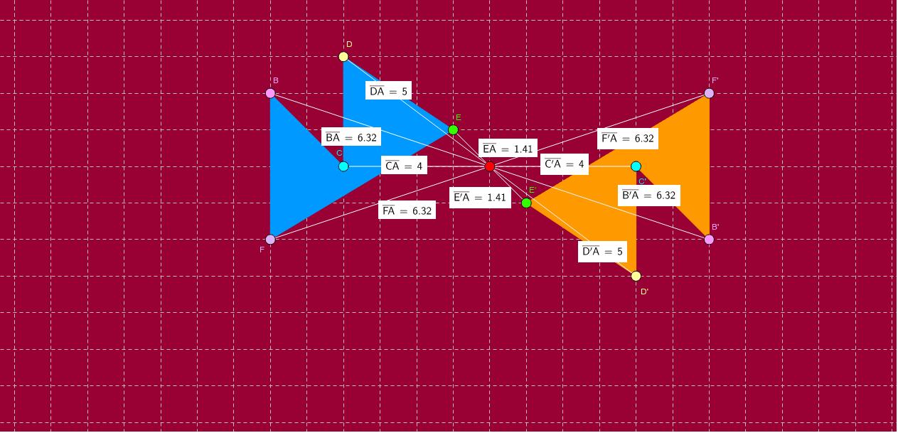 Mou els vèrtexs del polígon BCDEF, observa els canvis que es produeixen en el dibuix i dedueix les principals característiques de la simetria central.