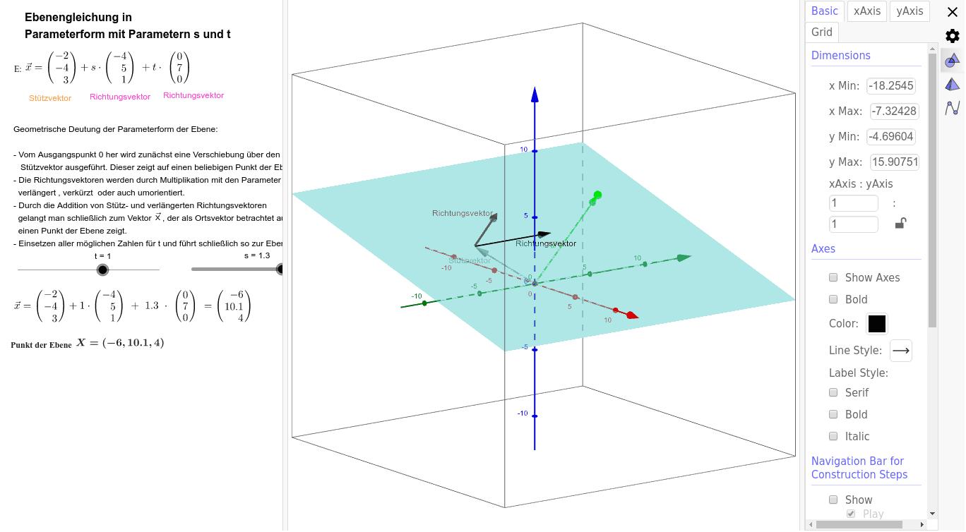 Ebenengleichung in Parameterform Drücke die Eingabetaste um die Aktivität zu starten