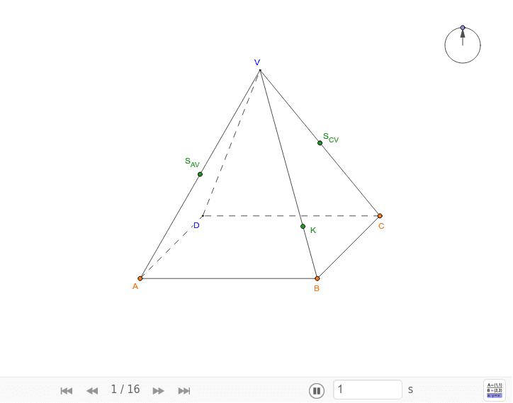 e dán pravidelný čtyřboký jehlan ABCDV. Sestrojte průsečnici rovin ABC a SCVSAVK, kde K ∈ BV ∧ |VK| = 3|BK|