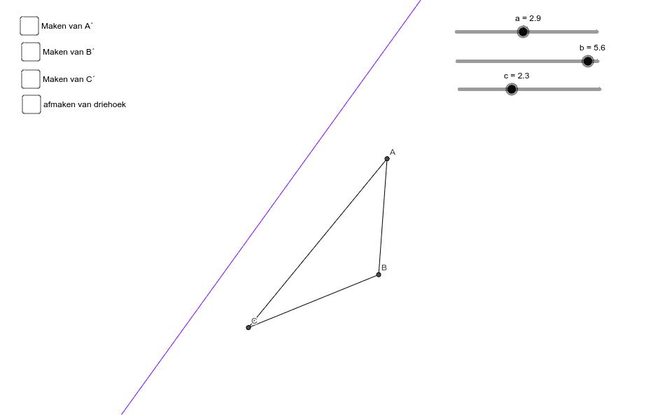 spiegelen van een driehoek in een lijn