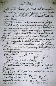 Replica di un carteggio autografo di Galileo sulla scoperta dei quattro satelliti medicei e delle loro orbite attorno a Giove. Galileo espose questa scoperta nella sua opera Sidereus Nuncius, pubblicata nel 1610
