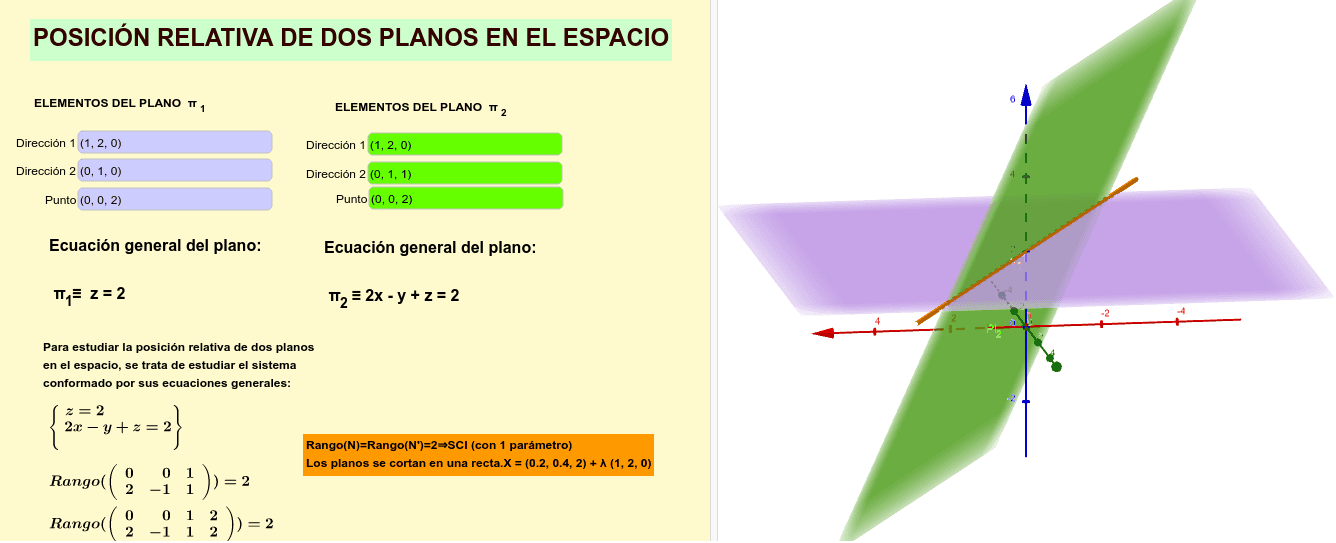 Aquí estudiamos la posición relativas de 2 planos en el espacion, a partir de las ecuaciones vectoriales. Presiona Intro para comenzar la actividad