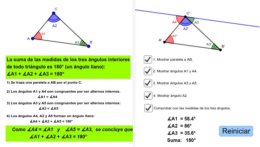 ángulos Internos Del Triángulo Demostración 1 Geogebra