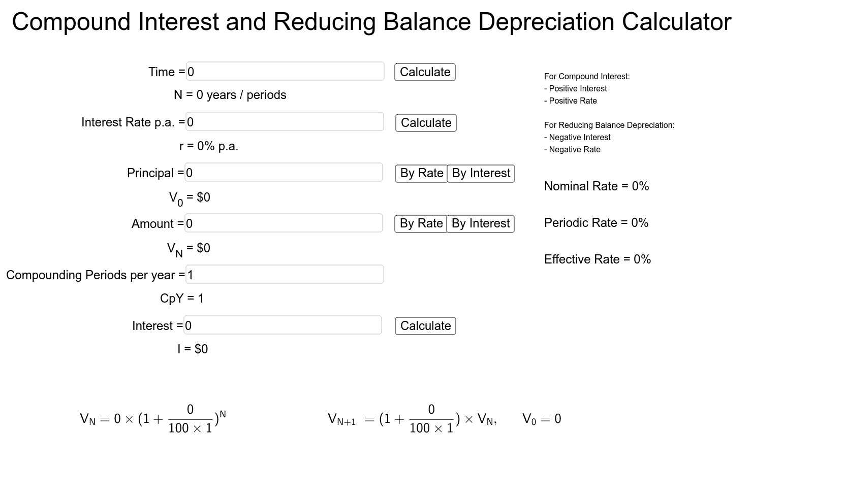 Compound Interest And Reducing Balance Calculator VCE