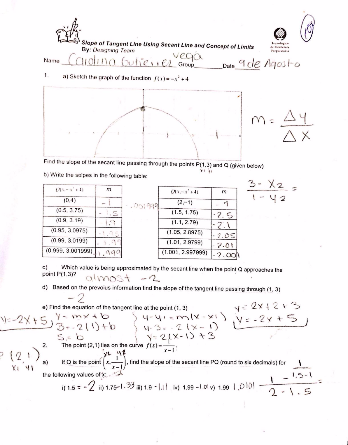 slope of tangent line using secant line and concept of limits