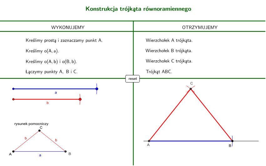 Konstrukcja trójkąta równoramienego