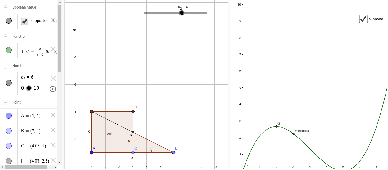 Premere il tasto play per far partire l'animazione e quindi la variazione di x, utilizzare lo slider per variare il valore del lato a