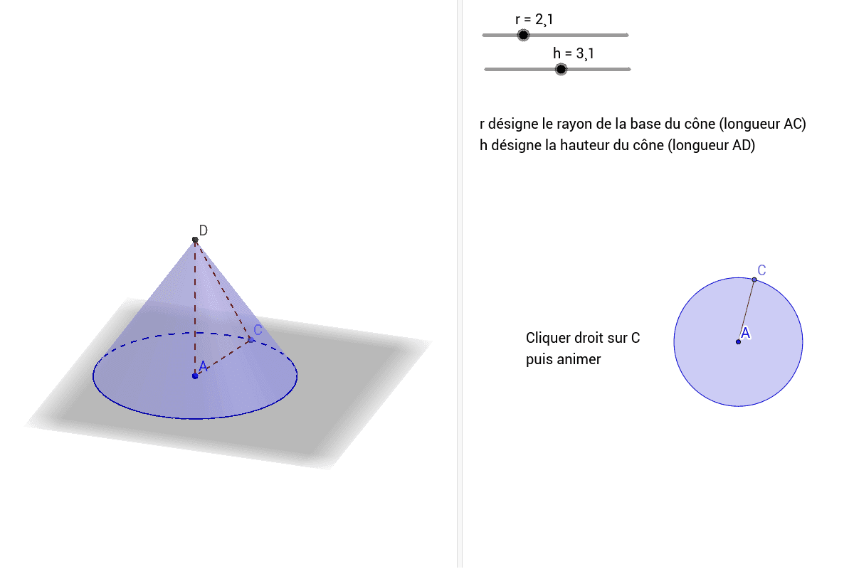 """Le cône est engendré par la révolution d'un triangle rectangle autour d'un côté de l'angle droit Tapez """"Entrée"""" pour démarrer l'activité"""