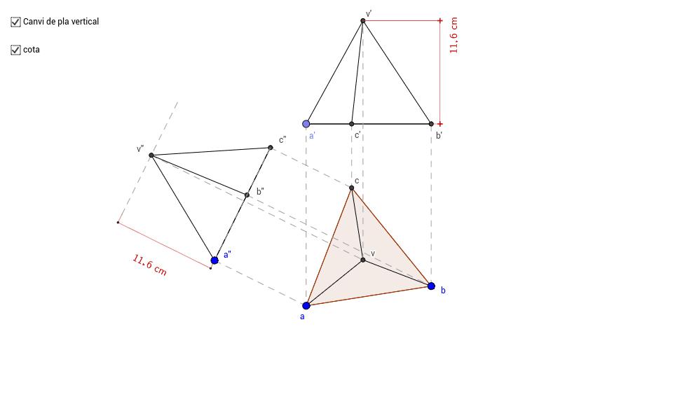 Canvi de pla vertical d'un tetraedre.